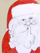 Pole Drawings - Father Christmas by Karen King