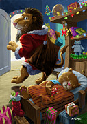 Cartoon  Lion Posters - Father Christmas lion delivering presents Poster by Martin Davey