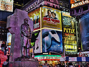 Musicals Prints - Father Duffy Watching Over Times Square Print by Lee Dos Santos