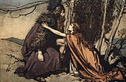 Helmet  Drawings Prints - Father Father Tell me what ails thee With dismay thou art filling thy child Print by Arthur Rackham