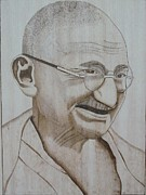 Portrait Pyrography Framed Prints - father of nation -India Framed Print by Ashraf Mohammed Musaliyarkalathil