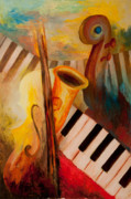 Piano Painting Originals - Fatima Sound Shop by Larry Martin