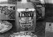 Bottled Prints - Fatoff obesity cream bottled electricity store window ghost town Virginia City Montana 1971 Print by David Lee Guss