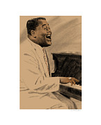 Rock And Roll Art Drawings - Fats Domino by Clifford Faust