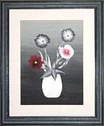 Original  By Artist Paintings - Faux Flowers II by Ron Davidson