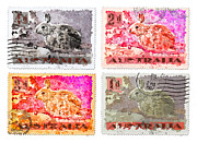 Postage Stamp Prints - Faux Poste Bunnies Print by Carol Leigh