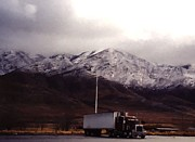 Tractor Trailer Digital Art Prints - Faux Snow Capped Utah Print by Margaret Newcomb