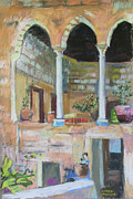 Israel Painting Originals - Fauzi Azar Mansion by Linda Novick
