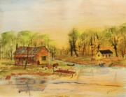 Fishing Shack Paintings - Favorite Get Away by Jack  Brauer