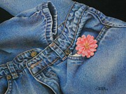 Drapery Framed Prints - Favorite Jeans Framed Print by Pamela Clements
