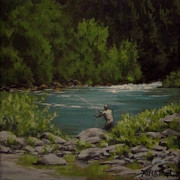 Flyfishing Prints - Favorite Spot Print by Karen Ilari