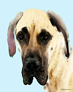 Great Dane Posters - Fawn Great Dane Dog Art Painting Poster by Sharon Cummings