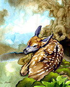 Forest Floor Paintings - Fawn Parked in the Trees by Patricia Howitt