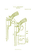 Drawn Framed Prints - F.B.E Beaumont Revolver Patent Framed Print by Nomad Art And  Design