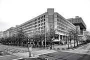 Bureau Photo Prints - FBI Building Front View Print by Olivier Le Queinec