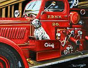 Vintage Prints - Fdny Chief Print by Paul Walsh