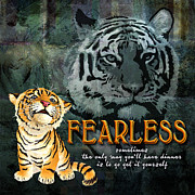 Tiger Digital Art Framed Prints - Fearless Framed Print by Evie Cook