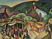 San Juan Painting Metal Prints - Feast Day San Juan Pueblo Metal Print by William Penhallow Henderson