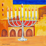 Jerusalem Paintings - Feast of Dedication Menorah by Cheryl Hymes