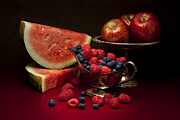 Raspberries Prints - Feast of Red Still Life Print by Tom Mc Nemar