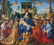 Religious Art Paintings - Feast of Rose Garlands by Albrecht Durer