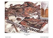 Baltimore Drawings Metal Prints - Feast on the Chesapeake Metal Print by Jonathan Brown