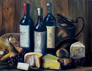 Cheeses Painting Prints - Feast Still Life Print by Donna Tuten