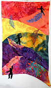 Figures Tapestries - Textiles Originals - Feather In the Wind by Maureen Wartski