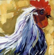Farm Rooster Painting Framed Prints - Feather Framed Print by Molly Poole