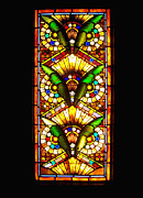 Stained Glass Windows Prints - Feathered Folly Print by Donna Blackhall
