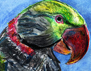 Jungle Pastels Prints - Feathered Friend Print by Elizabeth Briggs