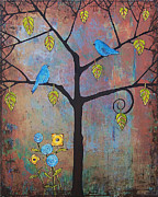Bluebird Painting Metal Prints - Feathered Friends Metal Print by Blenda Studio