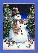 Snowman Posters - Feathered Friends Poster by Lynn Bywaters