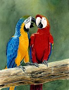 Blue And Gold Paintings - Feathered Friends by Tonya Butcher
