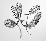 Tangle Drawings - Featherly by Karen Risbeck