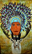 African American Tapestries - Textiles Metal Prints - Feathers and Antlers Metal Print by Linda Egland