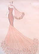 Fashion Illustration Pastels Posters - Feathers and Frills Poster by Christine Corretti