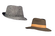 Sun Hat Prints - Fedora hats on white Print by Joe Belanger