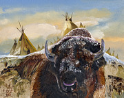 Bison Mixed Media Framed Prints - Feed the Fire Framed Print by J W Baker