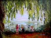 Wa Paintings - Feeding Ducks at Fort Dent Park by Wendy Ray
