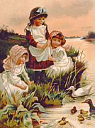 Kids Drawings Prints - Feeding Ducks Print by Edith S Berkeley