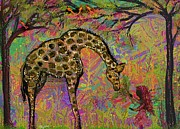 Giraffe Digital Art Originals - Feeding Jaffie by Lesley Harrington