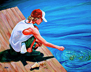 Cap Painting Originals - Feeding Koi by Derrick Higgins