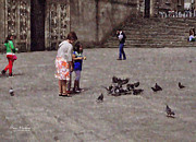 Mother And Daughter Prints - Feeding Pigeons in Santiago de Compostela Print by Mary Machare