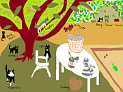 Primitive Drawings - Feeding the Cats at the Park by Anita Dale Livaditis