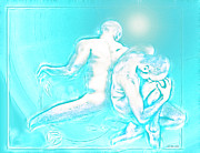 Nude Gay Couple Art Prints - Feeling Blue together  Print by Yvon -aka- Yanieck  Mariani