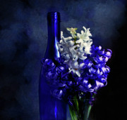 Wine Bottle Mixed Media - Feeling Blue by Zeana Romanovna