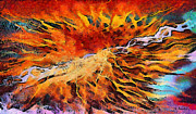 Surreal Landscape Painting Metal Prints - Feelings eruption Metal Print by George Rossidis