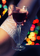 Fetishes Posters - Feet With Wine Poster by Aleksey Tugolukov