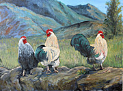 Stonewall Painting Originals - Feisty Fowls by Julie Townsend